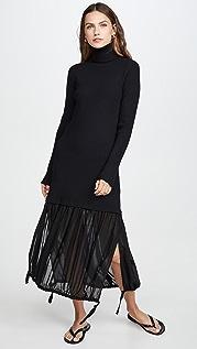 Tibi Многослойное платье из шерсти и газа в рубчик