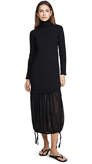 Tibi Wool Gauze Layered Ribbed Dress