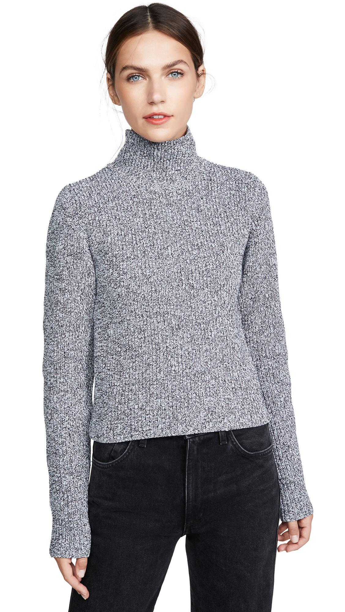 Tibi Zip-Through High-Neck Ribbed Sweater In Black/White Multi