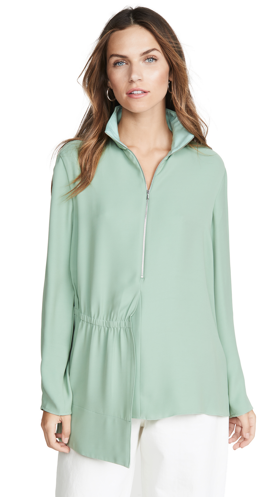 Tibi Zip Up Mock Neck Top – 70% Off Sale