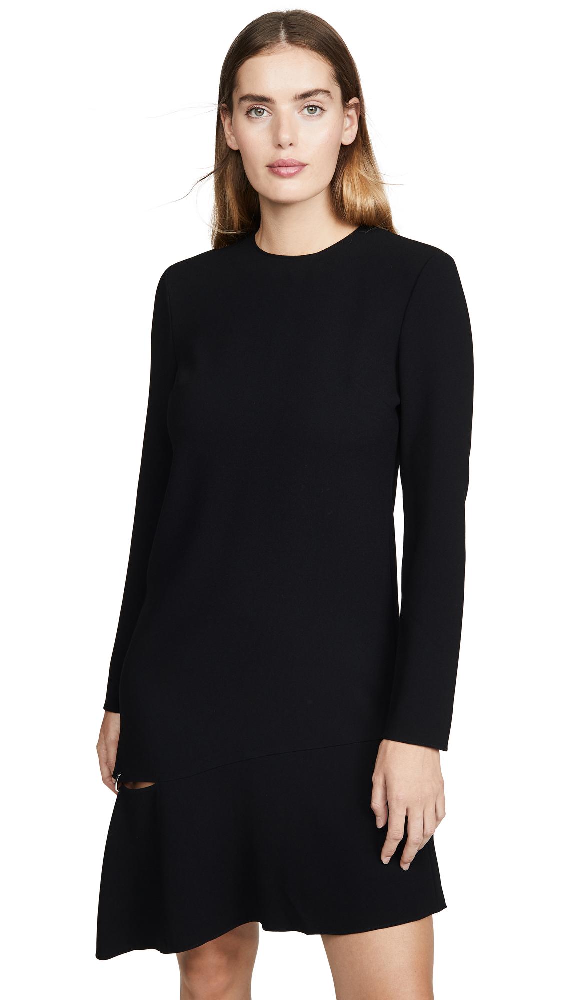 Tibi Triacetate Shift Dress With Detached Hem In Black
