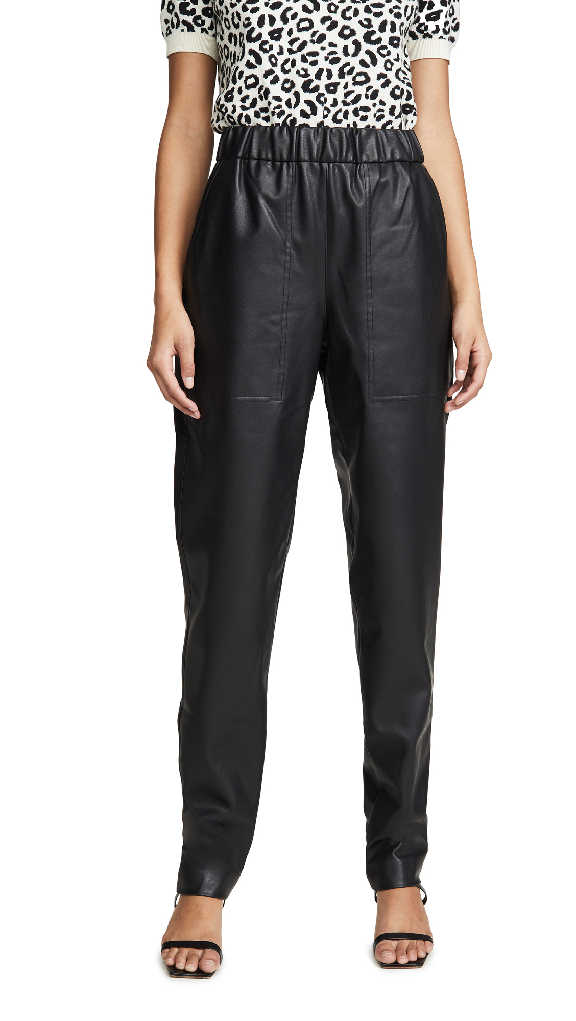 Tibi Faux Leather Joggers In Black