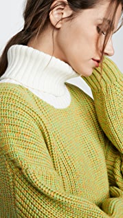 Tibi Просторный пуловер с воротником под горло