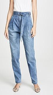 Tibi Скульптурные брюки со складками из денима