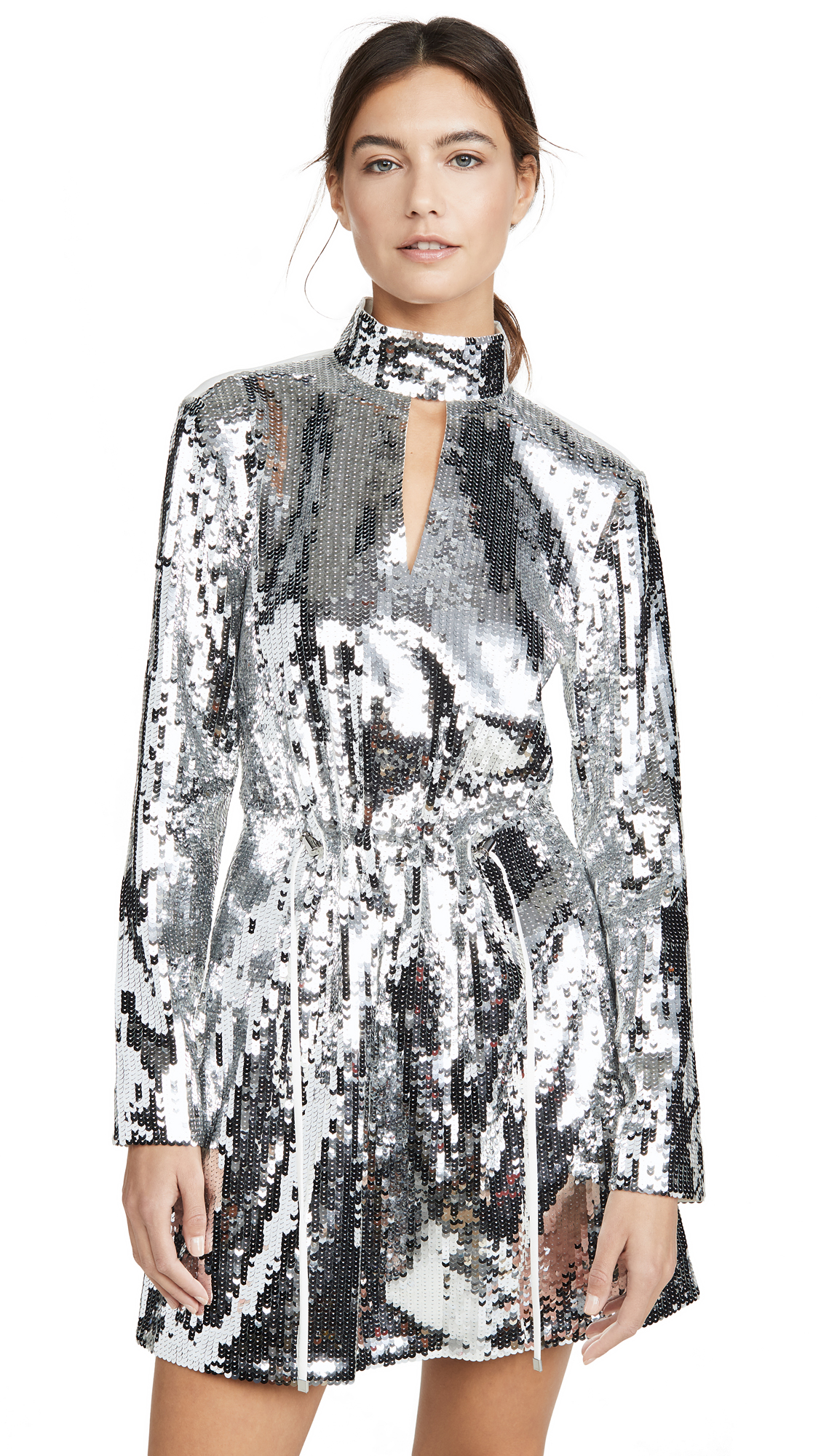 Tibi Avril Sequined Keyhole Short Dress In Silver