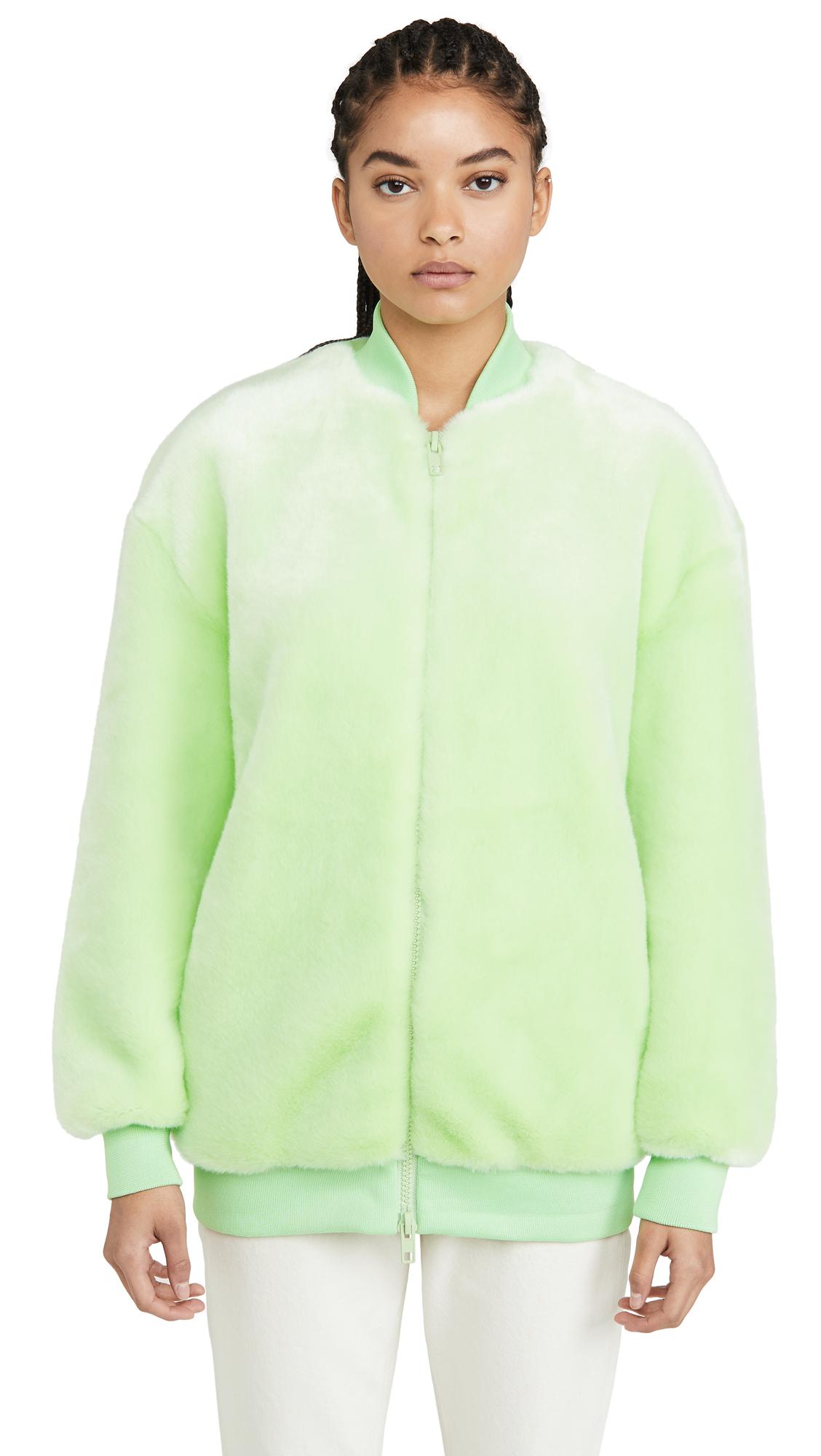 Tibi Oversize Faux Fur Bomber Jacket In Mint