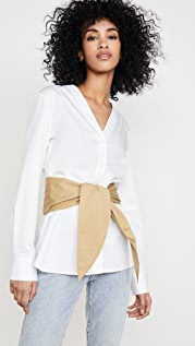 Tibi V Neck Shirt with Removable Tie