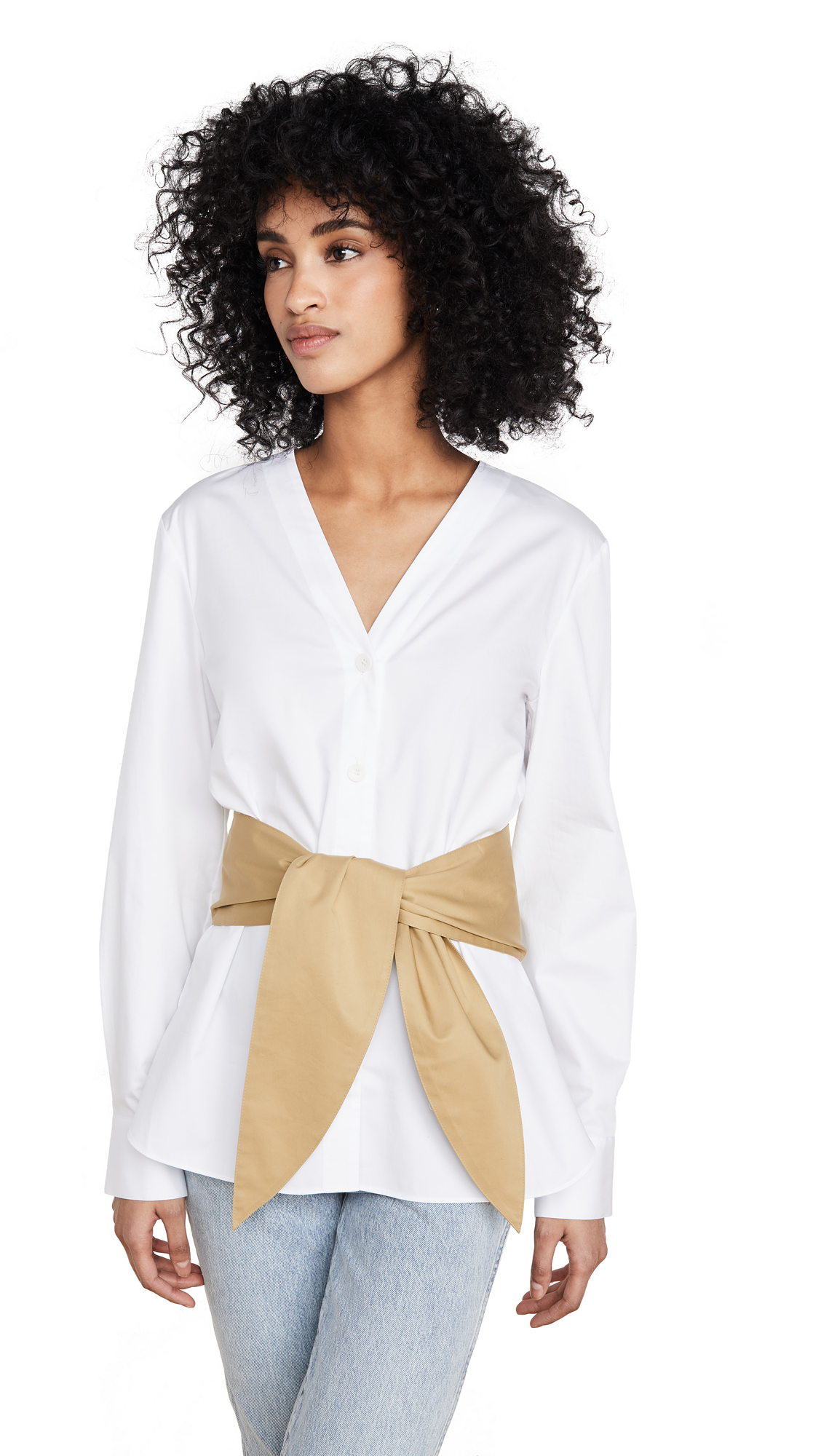 Tibi V Neck Shirt with Removable Tie - White Multi