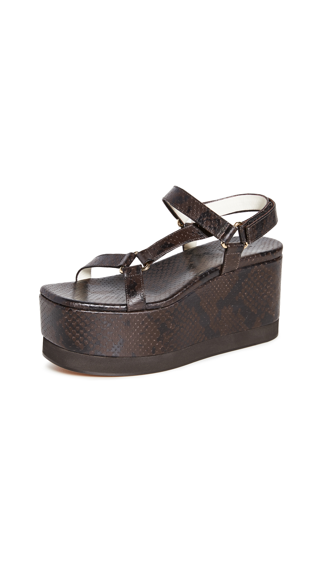 Photo of Tibi Masa Platform Snake Sandals - shop Tibi Sandals, Flat online
