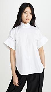 Tibi Shirred Sleeve Top