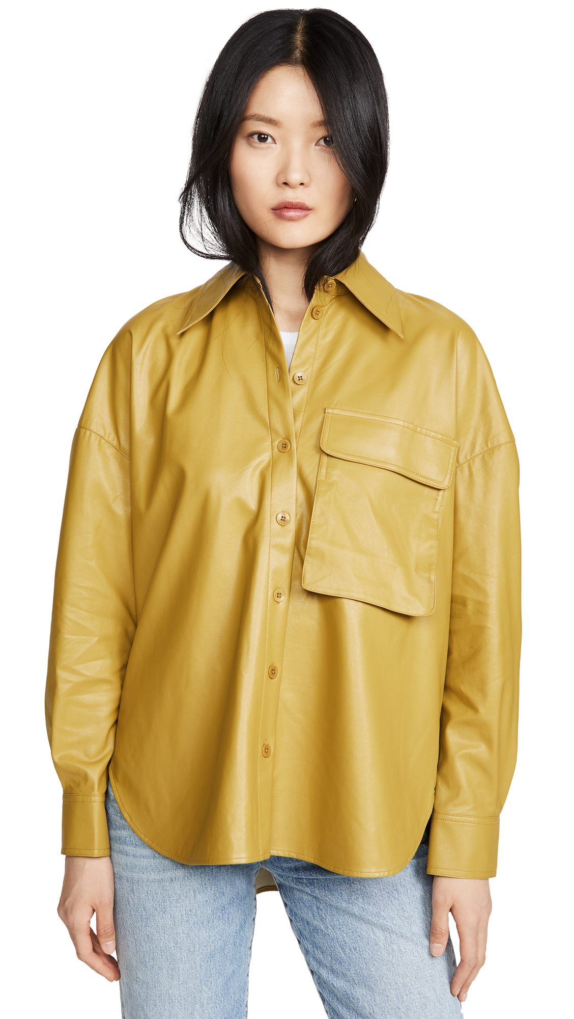 Tibi Relaxed Faux Leather Utility Shirt – 30% Off Sale