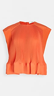 Tibi Yoked Pleated Top