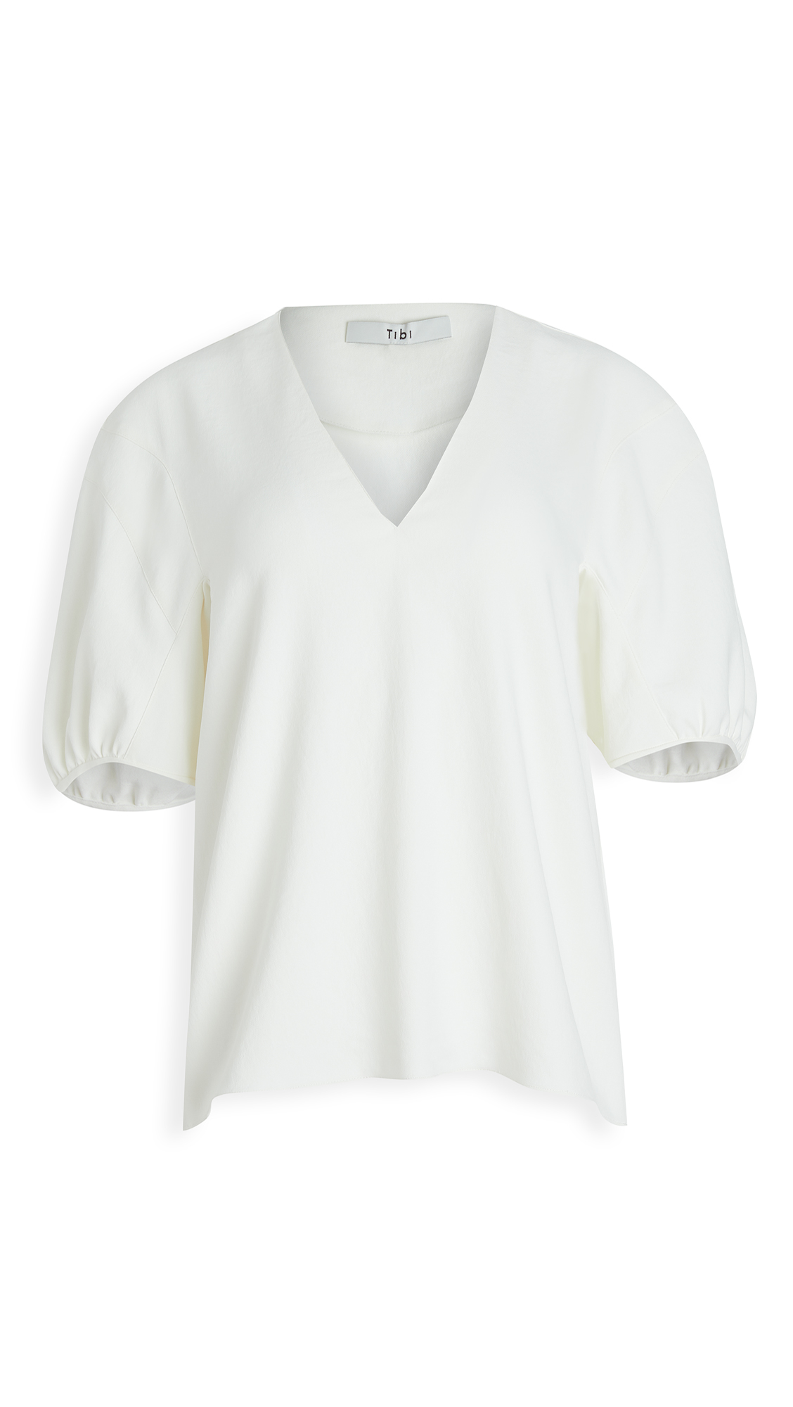 Tibi Tops CHALKY DRAPE V NECK TOP