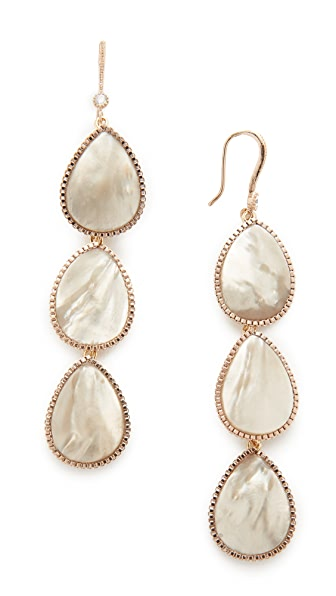 Theia Jewelry Three Tier Drop Earrings - Antique Gold/Grey MOP