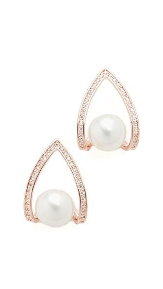 Theia Jewelry Cradled Shell Pearl Drop Earrings