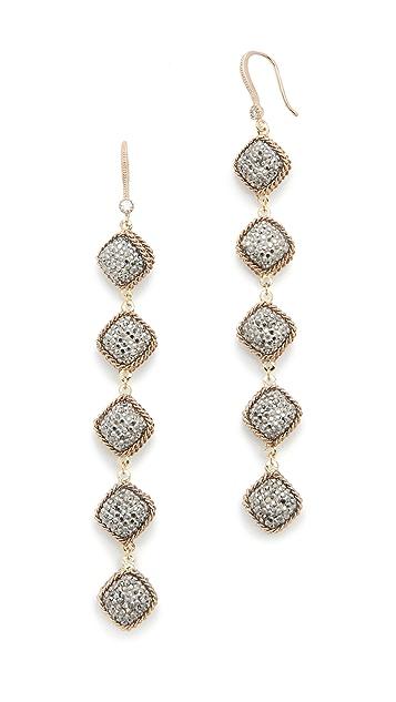 Theia Jewelry Five Tier Hand Set Statement Earrings
