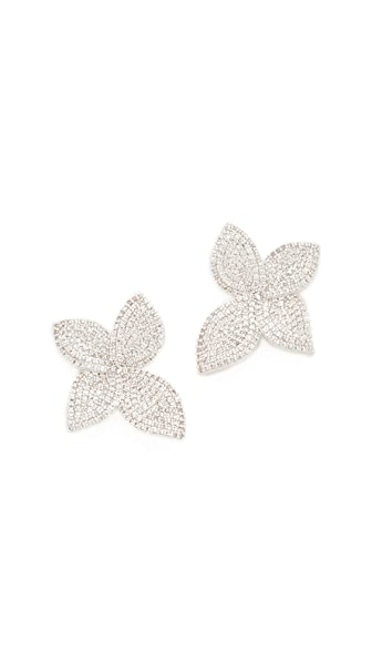 Theia Jewelry Plumeria Micro Pave Leaf Earrings - Plum