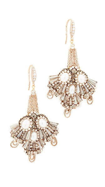 Theia Jewelry Mayan Festival Earrings - Gold/Pearl