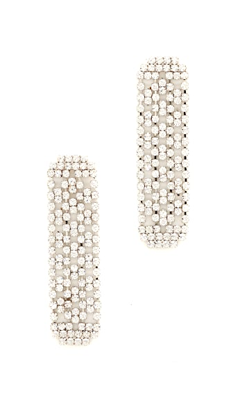 Theia Jewelry Linear Drop CZ Encrusted Earrings In Gold