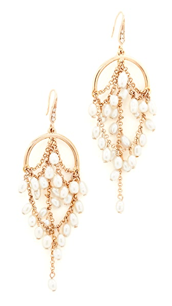 Theia Jewelry Grecian Chandelier Earrings with Pearls - Gold/Pearl