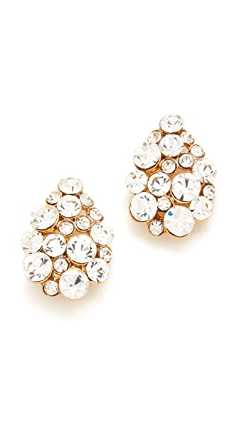 Theia Jewelry Small Teardrop Button Earrings In Crystal