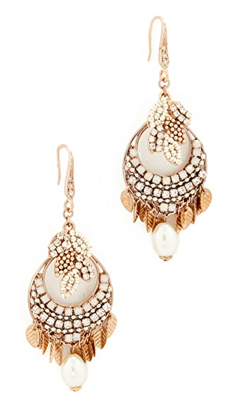 Theia Jewelry Athena Earrings with Crystals and Pearls - Gold/Pearl