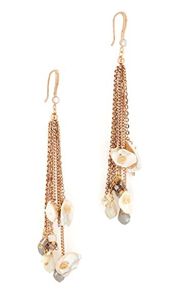 Theia Jewelry Keshi Pearl and Crystal Long Drop Earrings In Gold/Pearl