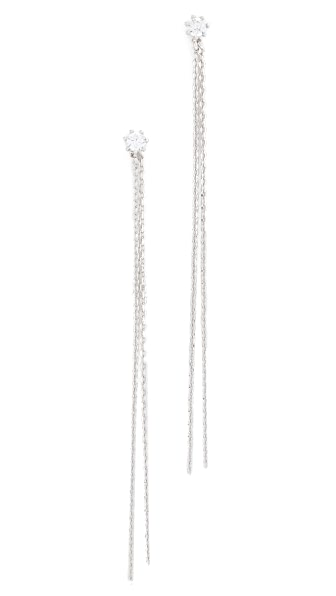 Theia Jewelry Vintage Stud Earrings with Long Chains - White Gold