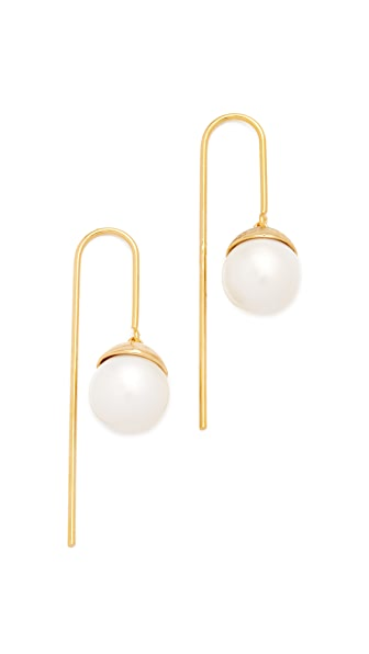 Theia Jewelry Simple Imitation Pearl Drop Earrings - Gold
