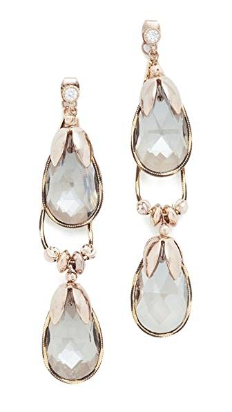 Theia Jewelry Soft Hoop Earrings with Crystals - Antique Gold