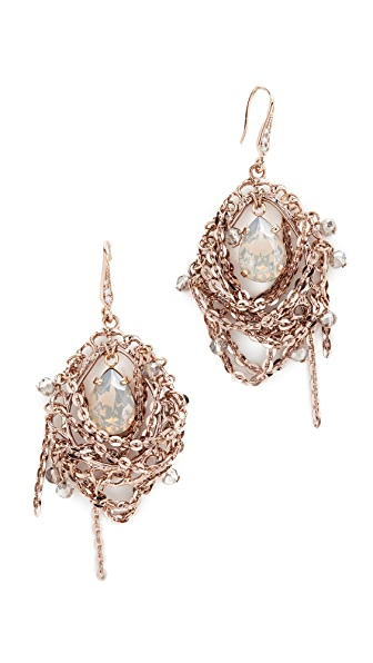 Theia Jewelry Chain Draped Oval Drop Earrings In Antique Gold