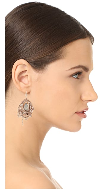 Theia Jewelry Chain Draped Oval Drop Earrings