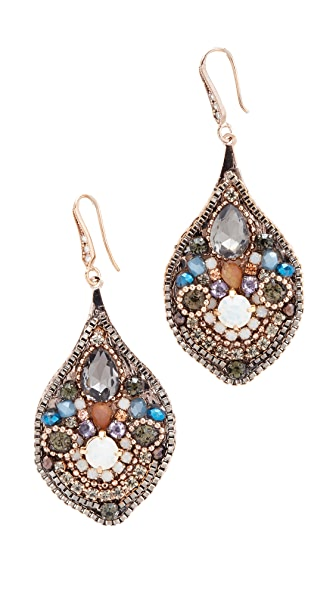 Theia Jewelry Moroccan Dusk Oval Drop Earrings - Antique Gold