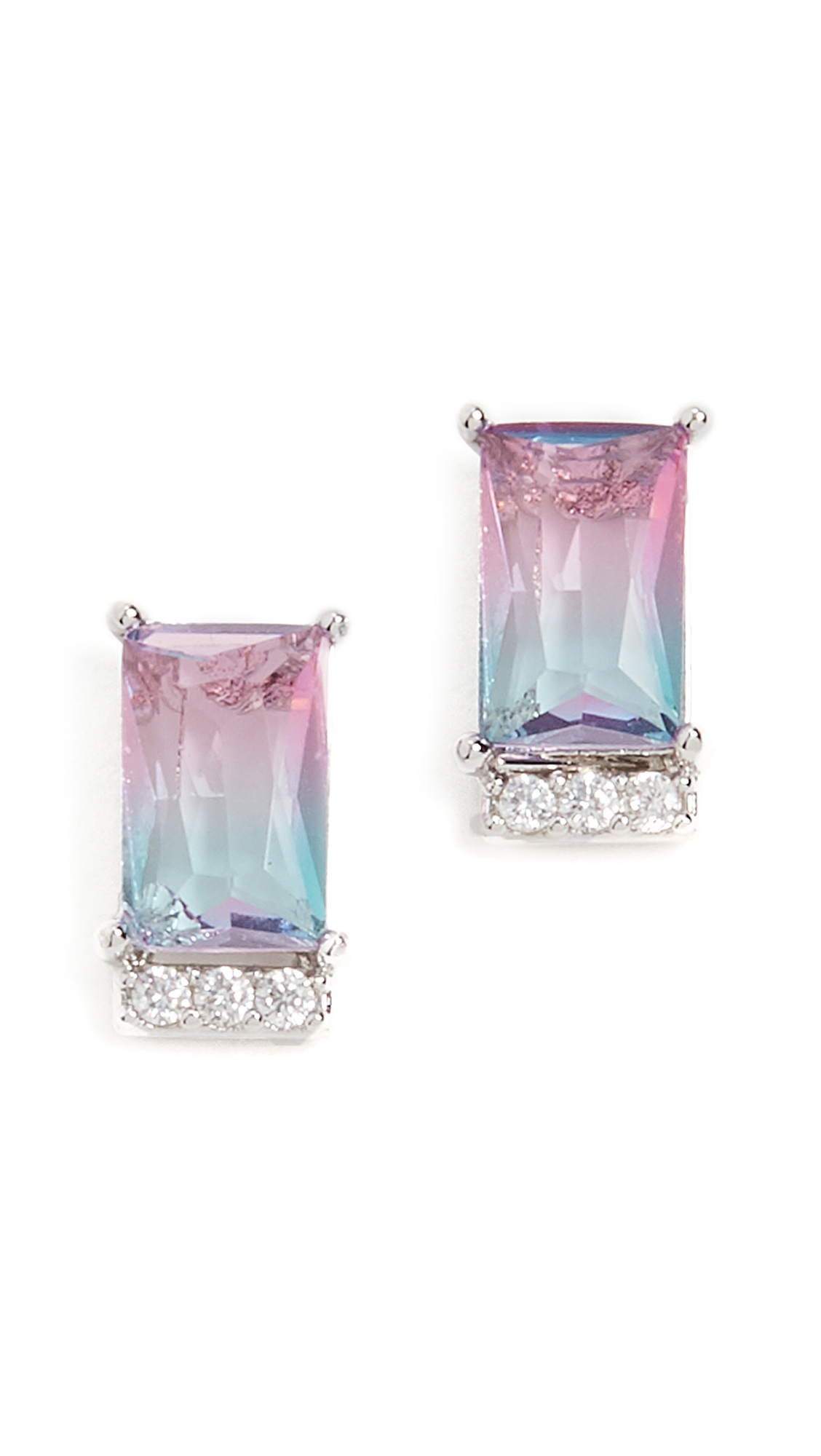Theia Jewelry Aurora Emerald Cut Stud Earrings In Multi