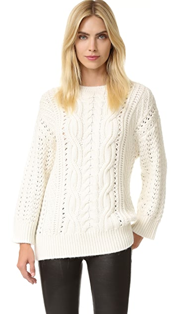 The Kooples Twist Braid Round Neck Pullover