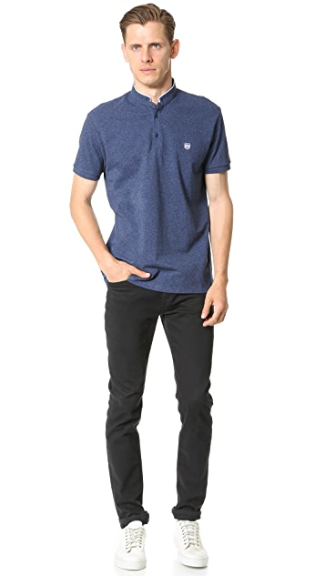 The Kooples Sport Contrast Trim Officer Collar Polo