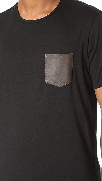 The Kooples Leather Pocket Tee