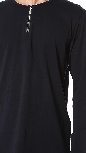 The Kooples Zip Collar Long Sleeve Tee