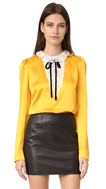 The Kooples Silk & Lace Tie Neck Blouse