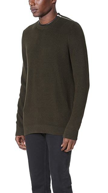 The Kooples Zip Shoulder Crew Sweater