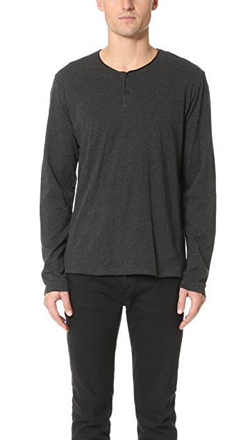 The Kooples Leather Trim Henley