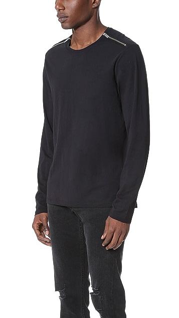 The Kooples Zip Shoulder Long Sleeve Tee