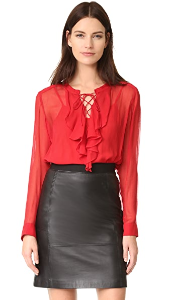 The Kooples Ruffle Front Blouse - Red