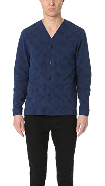 The Kooples Indigo Floral Shirt Jacket