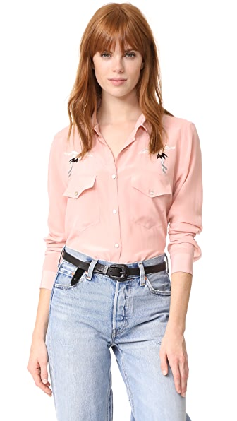 The Kooples Bird Embroidered Button Down - Pink