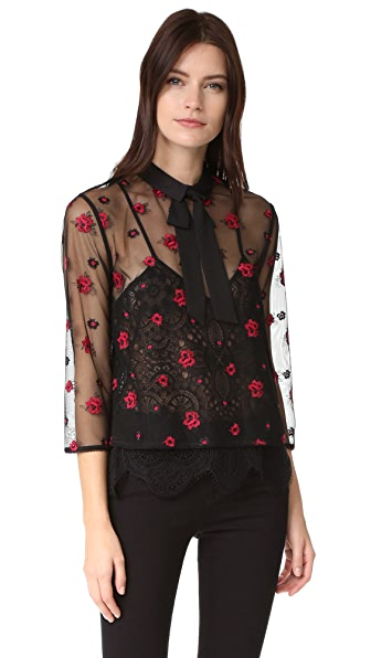 The Kooples Sheer Floral Blouse
