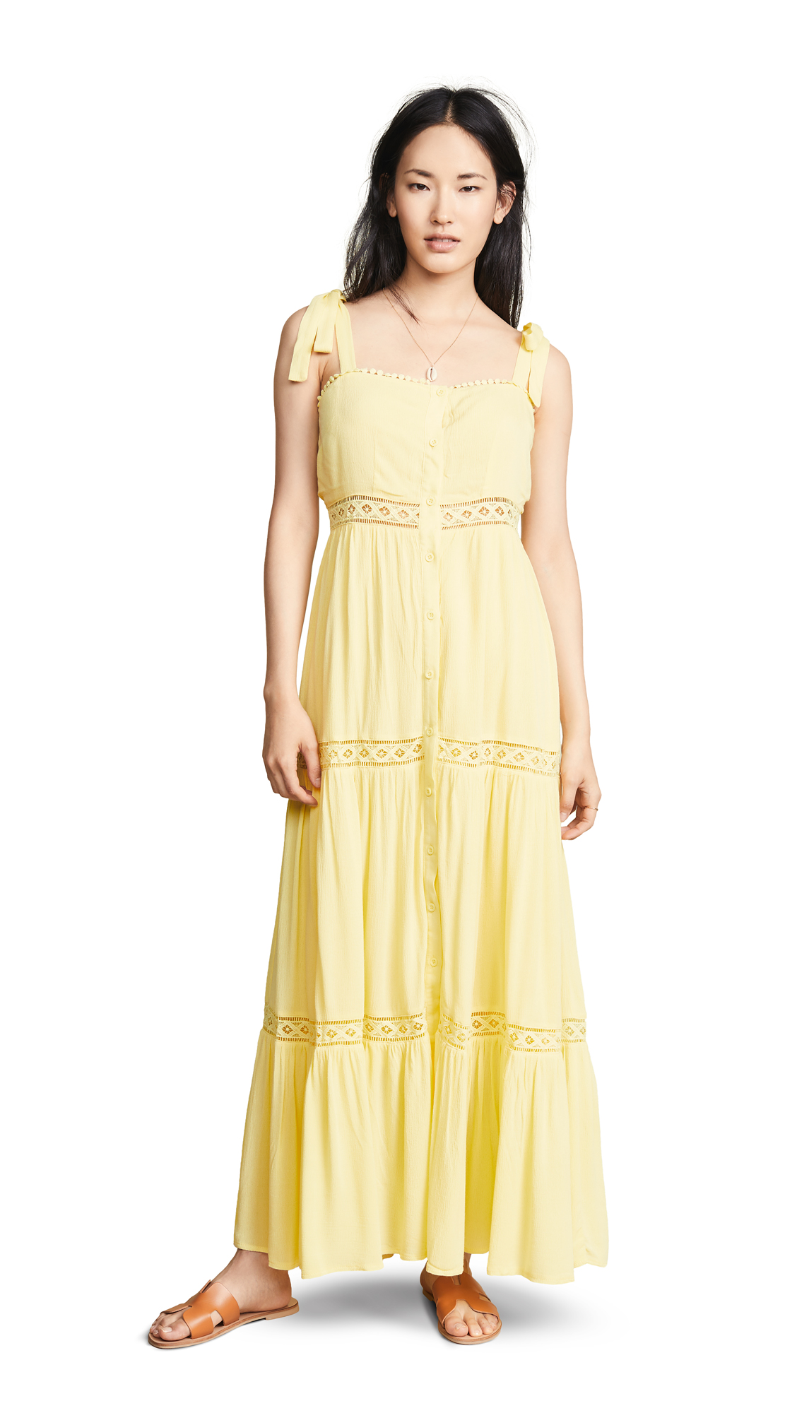 The Line Up Button Front Maxi Dress - Yellow
