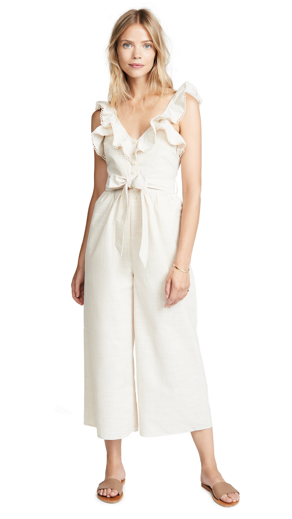 THE LINE UP Ruffle Jumpsuit in Cream Beige