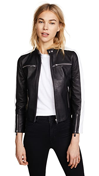 THE MIGHTY COMPANY Zip-Up Stripe Arm Leather Jacket