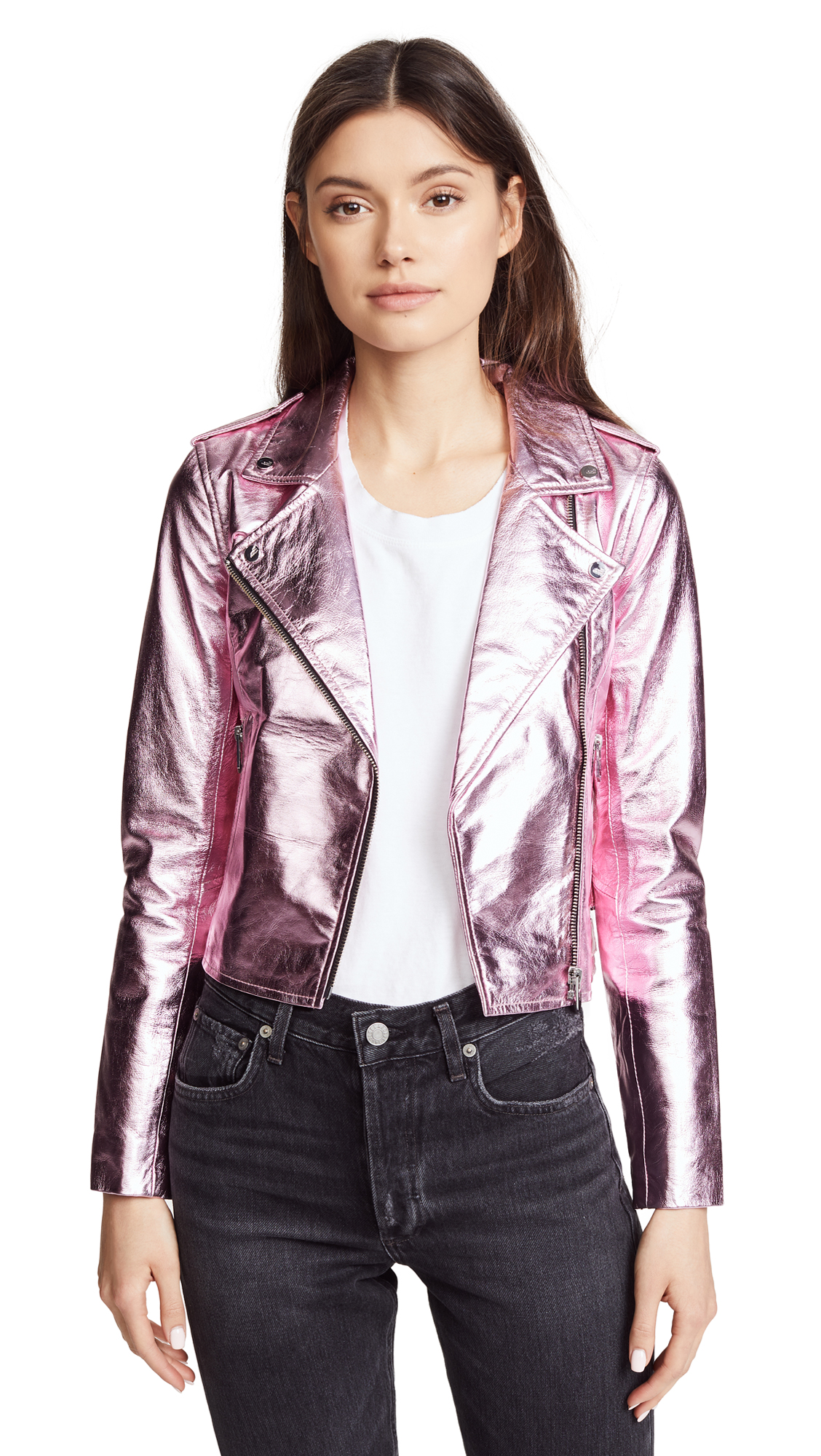 The Mighty Company Lecce Biker Crop Jacket In Metallic Pink